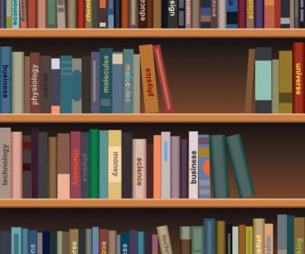 Realistic Bookshelf illustrations