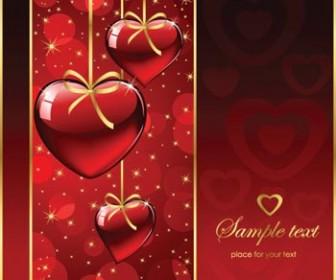 Red Background Valentine Heart Card