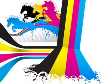 Abstract CMYK Background with Horse Vector