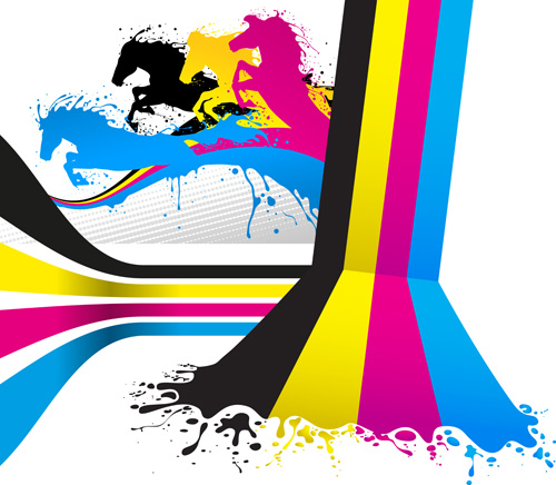 Abstract Cmyk Background With Horse Vector Ai Svg Eps