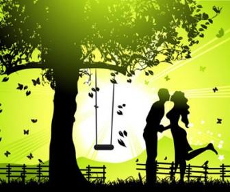 Lovers Kissing Vector Illustration