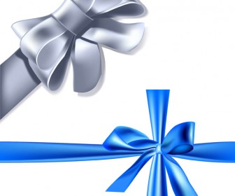 Blue And Silver Ribbon Vector elements