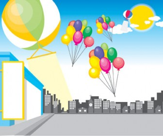 Balloons City Vector Landscape