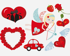 Vector valentine day heart icons