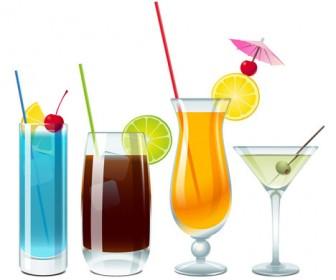 Blue Lagoon Cuba Libre and vodka with martini vector
