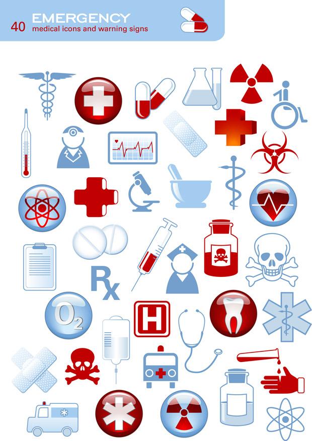 medical icons and warning signs