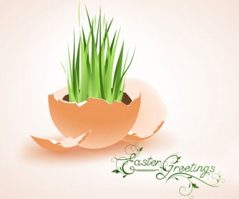 Vector Illustration Grass Grows from Egg